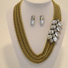 Antique Gold Chain Necklace and Earring Set