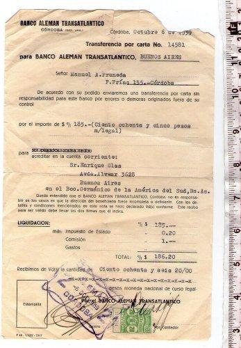 German Bank WW2 1939 Argentina Mail Transfer Order REVENUE STAMP