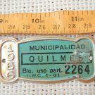 Argentina Bicycle Quilmes 1966 License Plate #5