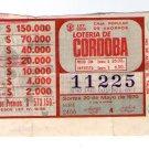 Argentina Cordoba Lottery Ticket VINTAGE