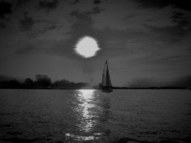 Sailboat and Moon Seascape PHOTOGRAPH  WALL ART Photo 8 x10