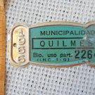 Argentina Bicycle Quilmes 1966 License Plate #8
