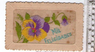 Argentina Birthday Greetings Postcard Embroidered Card VERY OLD