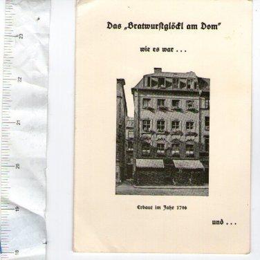 Germany Post WW2 Bratwurstglodl am Dom Restaurant Advertising