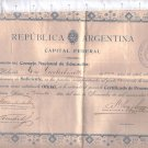 Argentina 1909 Teaching School Elementary Promotion Certificate Document