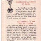 VINTAGE Pius XII Virgin Mary Legion Argentina Holy Card