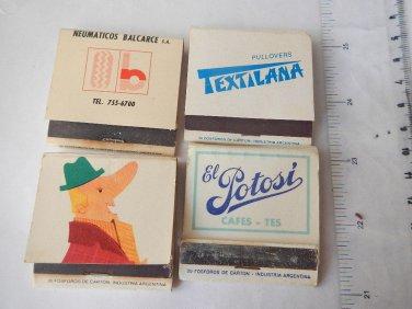 Vintage Argentina Advertising Matchbook Matchbox SET OF 4