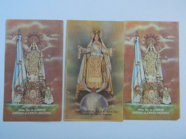 Argentina  Virgin Mary of Mercy Holy Card  3 CARDS Army Patron VINTAGE