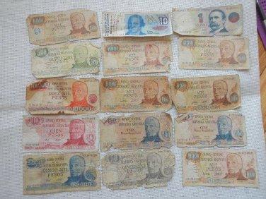 Argentina  Australes Pesos Bank Note Banknote Paper Money  BUNDLE OF 15 NOTES