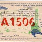QSL Card New Zealand Radio RA1506 Christchurch Dated 1938