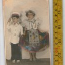 Antique Argentina Boy Girl Baby Children Disguise Postcard Photo COLORED