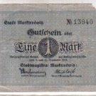 Germany Notgeld Marktredwitz Mark Bank Note Paper Money