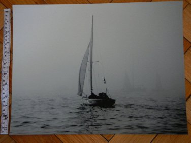 "G. Schek ""Sea Mist"" 12 by 16 inch BW Sail Sailing Sailboat Photo Photograph"