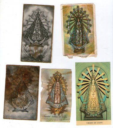 Argentina Virgin Mary of Lujan Holy Card 5 CARDS   VINTAGE