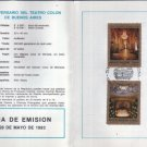 Argentina  First Day Card STAMPS Colon Theater Anniversary FDC