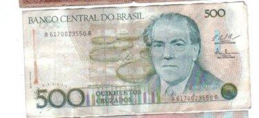 Brazil 500 Cruzados Banknote Bank Note Paper Money 2