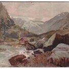 River Hous Landscape Mountain Picture Postcard  oLD