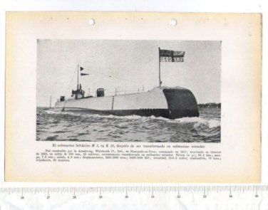 Great Britain Navy M3 Mining Submarine Ship WW2 Times Print  Picture
