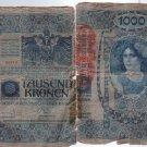 Austria Hungary 1918 1000 Kronen Banknote  Paper Money