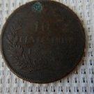 Italia 1866 Italy 10 Centesimi; Copper; Emanuele II COIN