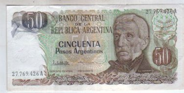 Argentina 50 Pesos Arg Bank Note Banknote Paper Money