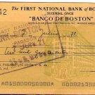 Argentina Boston  Bank Check  circa 1970