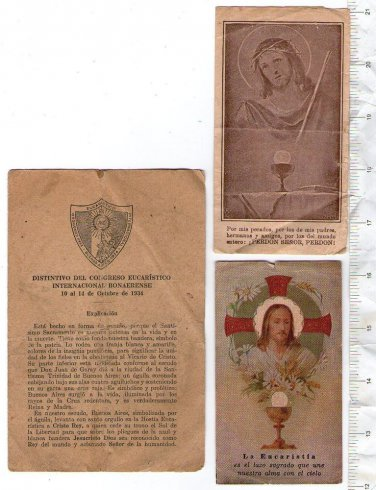 Vintage Christian Religion Jesus Christ Eucharistic Holy Card BUNDLE OF 3