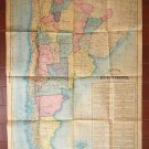 Argentina Vintage 1933 Road  Map 32 x 22 Inches La Prensa Newspaper Issue