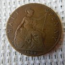 United Kingdom GREAT BRITAIN  Half 1/2 PENNY  1908 EXCELLENT
