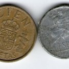 España Spain 10 Centimos 1945 100 Pesetas 1998 2 Coin Coins LOT
