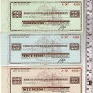 Uruguay Traveller Checks 10 20 50 Pesos Popular Bank BUNDLE LOT OF 3 c1940 UNC