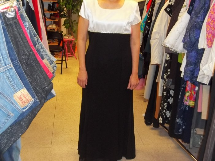 Scott Mcclintoch cream and black dress