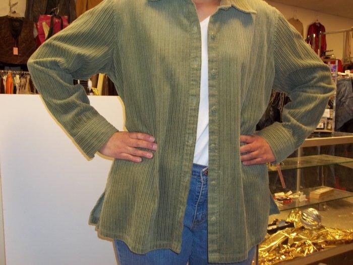 Craft & Barrow green cord button shirt
