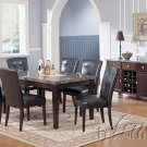7Pcs Cappuccino Dining Set Marble Table Top with Brown Chairs