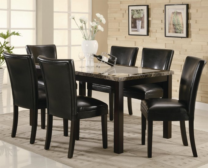 Carter 7pc 102260/62 Faux Marble Dining Set with Black Chairs
