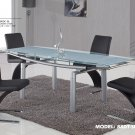 88DT-SILVER-88DC 5pc Dining Set with Black or Beige Chairs By Global Furniture