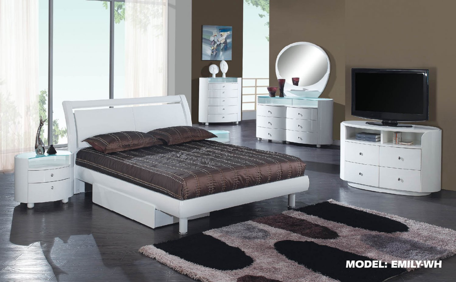 Emily White Queen Size 5pc Bedroom Set by Global Furniture
