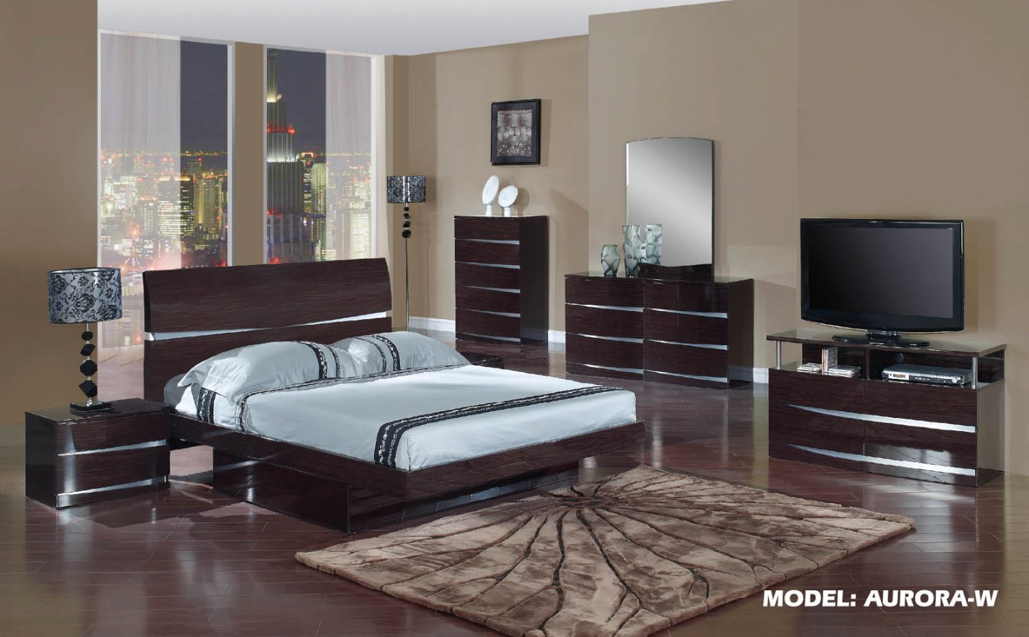 Aurora Wenge Glossy Finish Contemporary Full Size 5pc Bedroom Set by Global