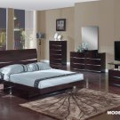 Aurora Wenge Glossy Finish Contemporary Queen Size 5pc Bedroom Set by Global