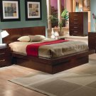 200711 Jessica Queen Size Platform Bed in Light Cappuccino finish