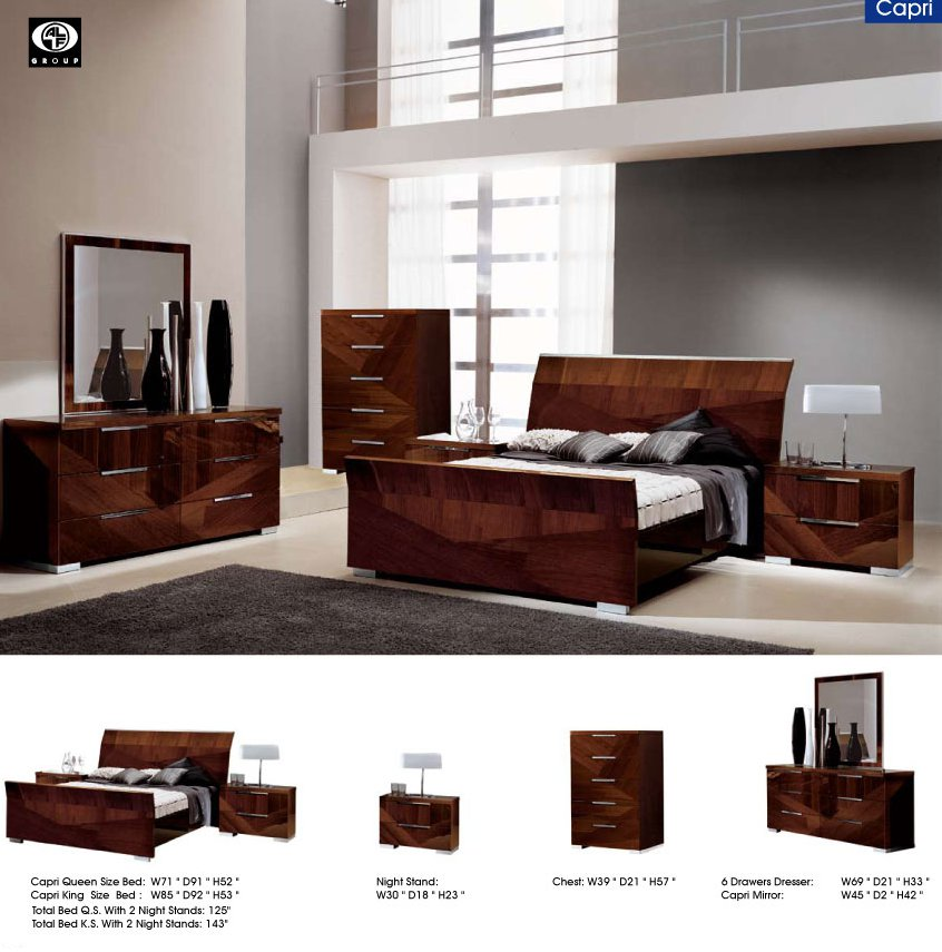Capri High Gloss Dark Walnut Finished King 5pc Bedroom Set By Esf