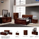 Capri High Gloss Dark Walnut Finished King 5pc Bedroom Set by ESF