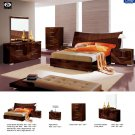 Cindy High Gloss Dark Walnut Finished King 5pc Bedroom Set by ESF