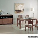 Stark Modern 5pc Dining Set in Walnut with Glass Insert