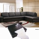 Block Brown Full Leather Sectional Sofa
