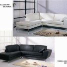 Julie Sectional Sofa in Black or White Leather Match