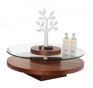 Revere Round Walnut Finish Coffee Table