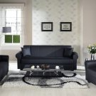 Floris Black PU 3pc Sofa Set