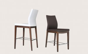 Pasha Wood Counter or Bar Stool in Leatherette