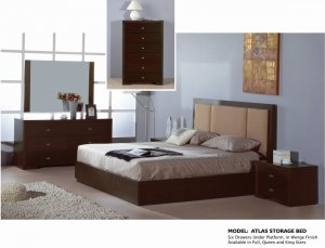 Queen Size Atlas Wenge Modern 5pc Bedroom Set